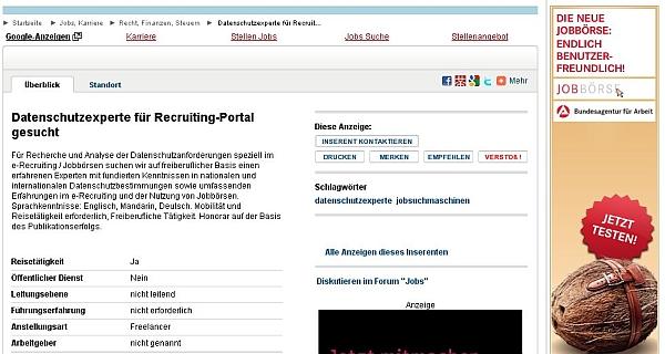 Fiktive Stellenanzeige durch einen fingierten Arbeitgeber: Auch beim Anzeigenportal Markt.de möglich