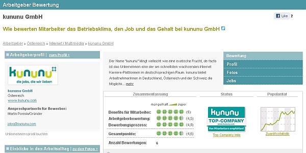 Arbeitgeberbewertung für kununu