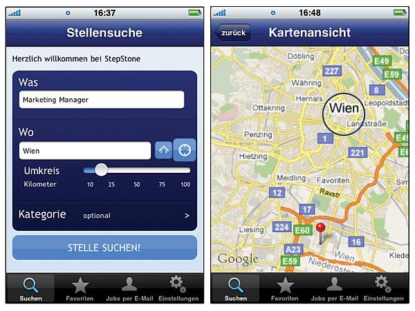 iPhone App von StepStone Österreich