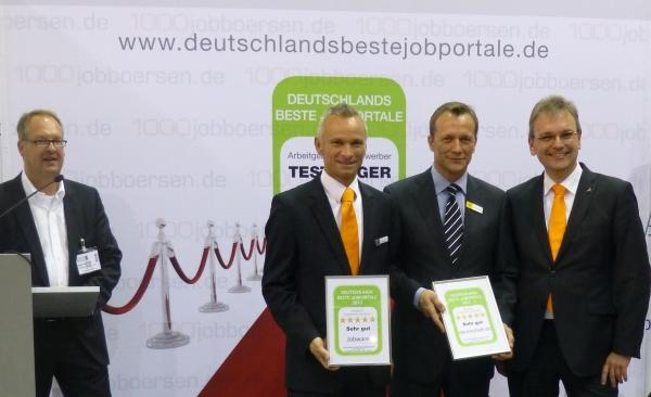 Deutschlands Beste Jobbörsen: Gewinner des Qualitätswettbewerbs Wolfang Brickwedde (Moderator), Christian Flesch (Jobware), Werner Wiersbinski (meinestadt.de), Dr. Ulrich Rust (Jobware) (v.l.n.r.)