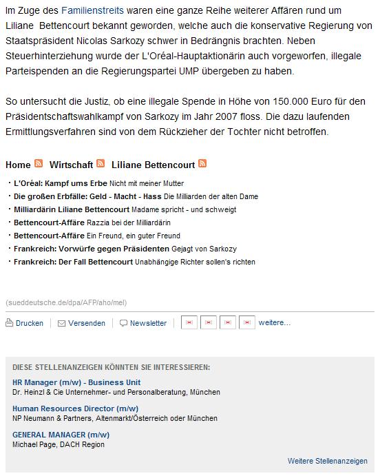 Süddeutsche Zeitung: Kontext-sensitive Einblendung von Stellenanzeigen