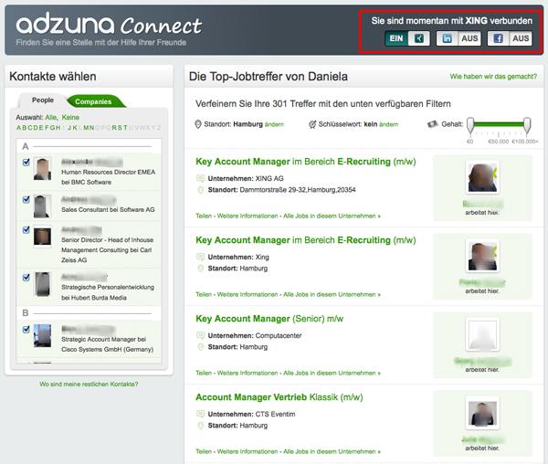 adzuna connect Trefferliste