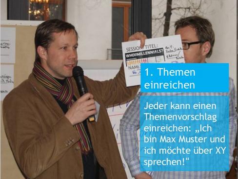 Max Muster, aka Kai Deininger, bei seinem Session-Pitch auf dem HR-BarCamp 2012 in Berlin