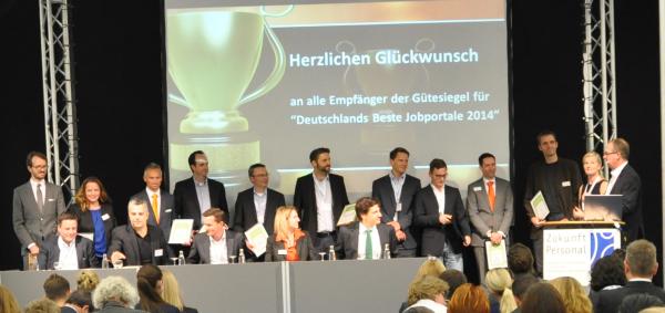 Deutschlands Beste Jobbörsen: Die Gewinner werden auf der Messe Zukunft Personal 2015 mit Gütesiegeln ausgezeichnet. Im Bild: Die Gewinner des Jahres 2014.