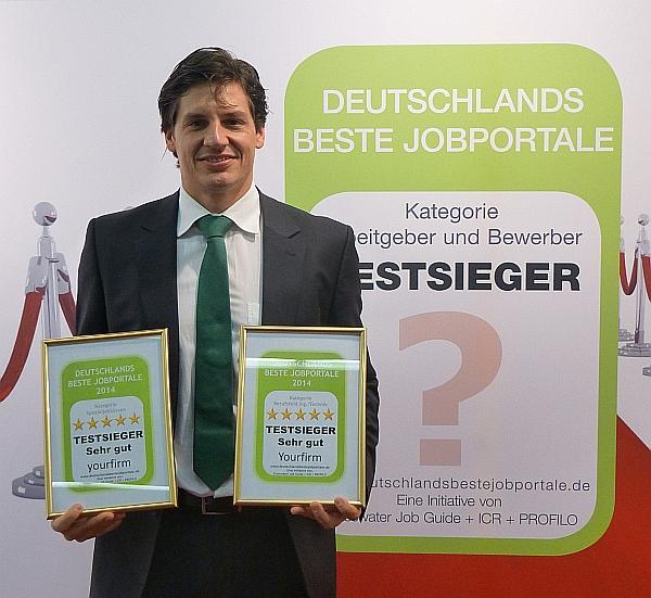 """TESTSIEGER: Arbeitgeber und Bewerber wählen Yourfirm.de in renommierter Studie """"Deutschlands beste Jobportale"""" zur besten Spezial-Jobbörse in Deutschland  und zum besten Jobportal für Ingenieure"""