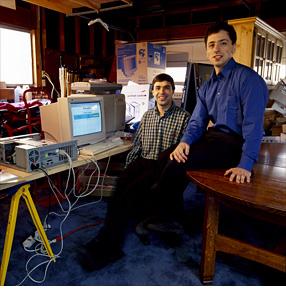 Existenzgründer in ihrer Start-up-Garage: Larry Page und Sergej Brin