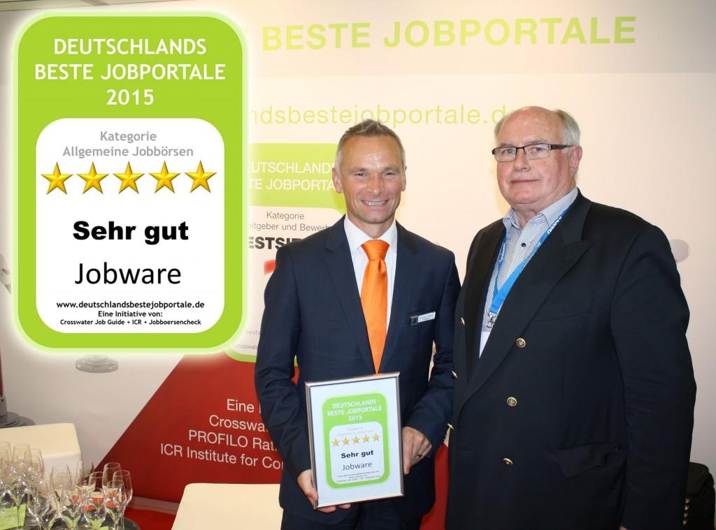 Jobware mit 5 Sternen: Deutschlands beste Jobportale. Christian Flesch (links) und Gerhard Kenk (rechts)