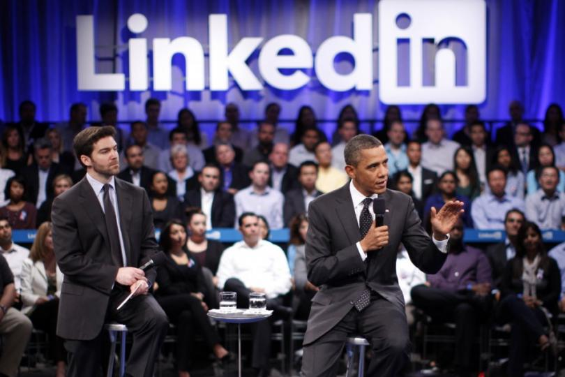 Barak Obama bei einem LinkedIn Town Hall Meeting
