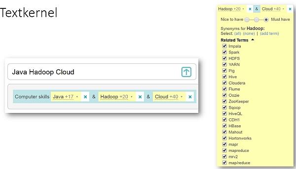 Semantische Suche mit Textkernel-Tool