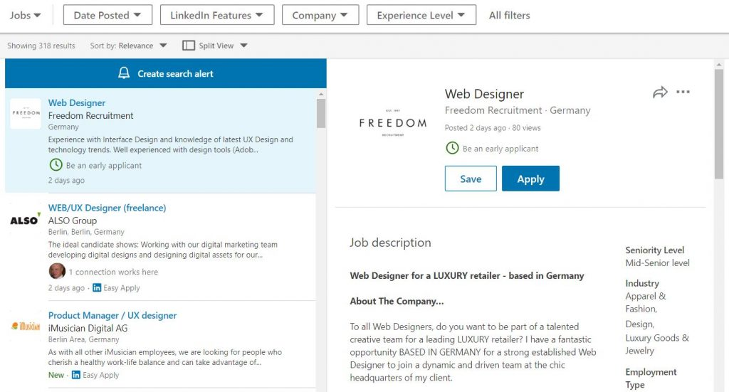 LinkedIn, Crosswater Job Guide, Stellenanzeige, Web Designer