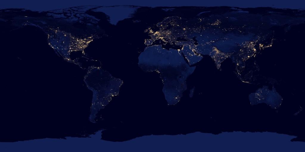 Die Erde bei Nacht. Foto: NASA